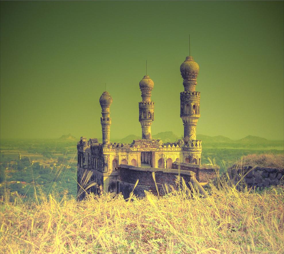 Teen_minar_Elgandal_fort_Karimnagar