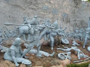 Monument_showing_the_historical_-Hari-Hor_Yuddha-_at_Agnigarh_Hill,_Tezpur
